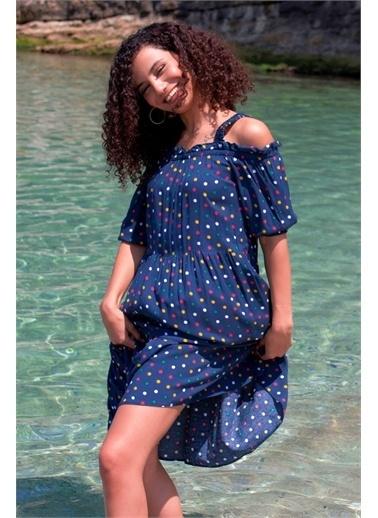 Curly  Puanlı Omuzları Lastikli Büzgülü Elbise Lacivert